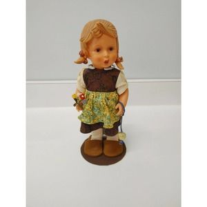 "Hummel Girl with Flowers Vinyl Doll 12"" Tag Stand"
